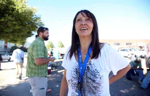 Francisco Kjolseth     The Salt Lake Tribune Gina Salazar, 45, who used to be a drug user and sex worker managed to escape that lifestyle. For the past three years she has helped those like her former self as an outreach worker for Volunteers of America and the 4th Street Clinic.  During a recent visit to 500 West, near the Road Home shelter, where drug use was rampant and in plain view, Salazar expressed how she felt blessed to be clean as she tries to help those in need and lead by example.