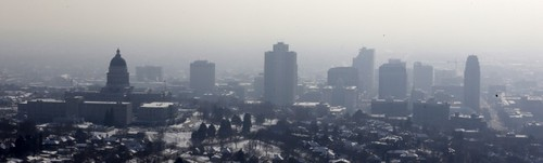 Rated worst in the nation, air pollution over the Salt Lake Valley was only expected to worsen this week as a winter air inversion trapped vehicle and industrial emissions. (AP photo)