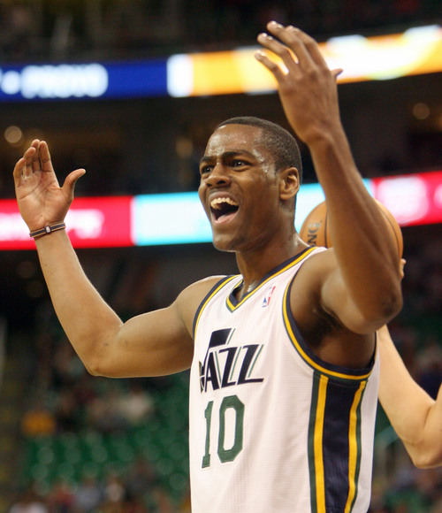 Steve Griffin  |  The Salt Lake Tribune  Utah's Alec Burks can't believe a foul call during first half action in the Jazz versus Golden State preseason NBA basketball game at the EnergySolutions Arena in Salt Lake City, Utah Tuesday, October 8, 2013.