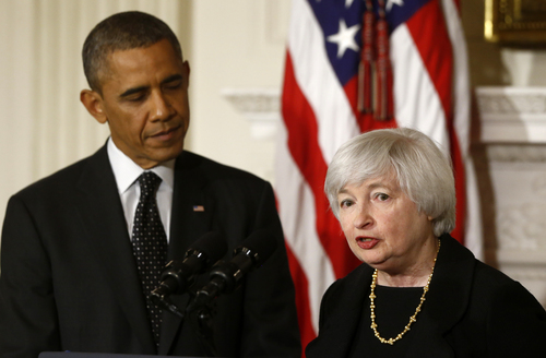 President Barack Obama listens as Janet Yellen, vice chair of the Board of Governors of the Federal Reserve System, speaks in the State Dining Room of the White House in Washington, Wednesday, Oct. 9, 2013, where the president announced he is nominating Yellen to be chair of the Federal Reserve, succeeding Ben Bernanke. (AP Photo/Charles Dharapak)