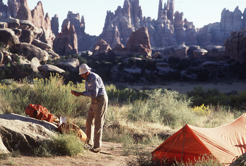 Al Hartmann  |  Tribune file photo   Backpacker camping in the Needles area of Canyonlands National Park.