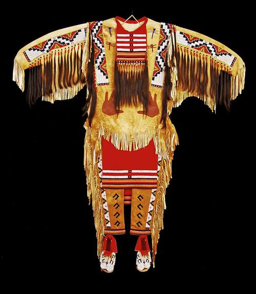 """Black Eagle     Courtesy Natural History Museum of Utah """"Eternal Spirit Medicine,"""" a brain-tanned deer skin costume with over 45,000 old-style glass seed beads, by Black Eagle (Shoshone/Yokut), is among the works on display at the Indian Art Market, Oct. 12 and 13 at the Natural History Museum of Utah."""