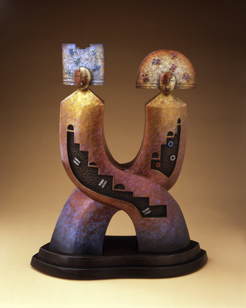 """Joe Cajero     Courtesy Natural History Museum of Utah The bronze sculpture """"Relationship - The Eternal Journey,"""" by Joe Cajero (Jemez), is among the works on display at the Indian Art Market, Oct. 12 and 13 at the Natural History Museum of Utah."""