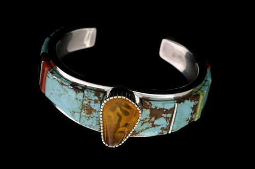 Marvin Slim     Courtesy Natural History Museum of Utah Bracelets, like this one (with turquoise, coral, gaspeite, sugilite and amber), by Marvin Slim (Navajo) are among the works on display at the Indian Art Market, Oct. 12 and 13 at the Natural History Museum of Utah.