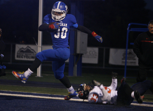 Scott Sommerdorf   |  The Salt Lake Tribune Bingham RB Scott Nichols ran all over Brighton in the first half as Bingham built a 24-14 lead at the half over Brighton, Friday, October 4, 2013. He danced int he end zone after an apparent TD run, but it was brought back by a holding call.