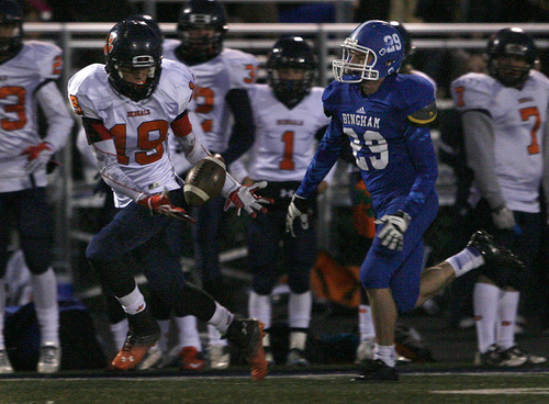 Scott Sommerdorf   |  The Salt Lake Tribune Brighton WR Semi Fehoko loses control of this sure TD catch as he is being chased by Brighton DB Chase Messervy during first half play. Bingham held a 24-14 lead at the half over Brighton, Friday, October 4, 2013.
