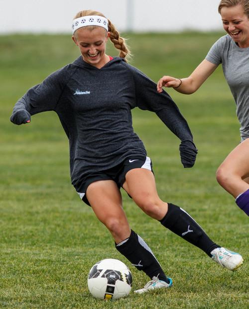 Trent Nelson  |  The Salt Lake Tribune Riverton High School soccer player Hailey Skolmoski at practice in Riverton, Wednesday, October 2, 2013.