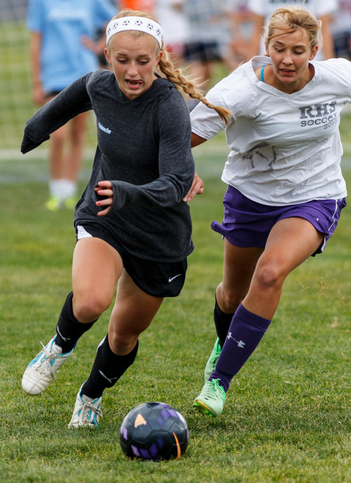 Trent Nelson  |  The Salt Lake Tribune Riverton High School soccer player Hailey Skolmoski at practice, with teammate Brittany Garrett, in Riverton, Wednesday, October 2, 2013.