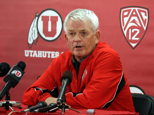 Rick Egan  | Tribune file photo  Utah co-offensive coordinator Dennis Erickson plans to continue using two tight end sets despite injuries to the two starters at that position.