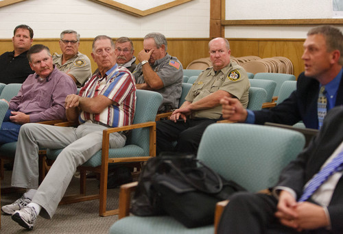 Trent Nelson  |  The Salt Lake Tribune Representatives from several counties and state government meet in St. George to hear a plan to reopen national parks as the government shutdown continues, Thursday, October 10, 2013.