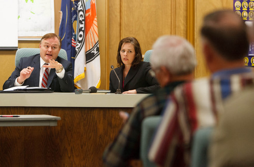 Trent Nelson  |  The Salt Lake Tribune Michael Mower, deputy for Community Outreach for the Governor's office, and House Speaker Becky Lockhart speak. Representatives from several counties and state government met in St. George to hear a plan to reopen national parks as the government shutdown continues, Thursday, October 10, 2013.