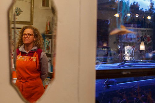 Trent Nelson  |  The Salt Lake Tribune Springdale business owner Joy Stein in her craft shop, Thursday, October 10, 2013. The state and federal governments are working out the details of a deal to reopen Zion and the other national parks in Utah as the government shutdown continues.