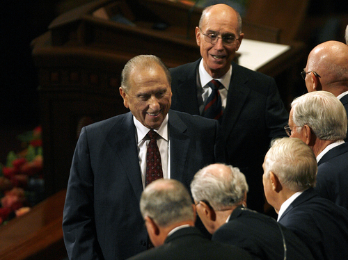 Scott Sommerdorf   |  The Salt Lake Tribune LDS President Thomas S. Monson and other members of the Quorum of the Twelve Apostles visit with each other as they leave the morning session of the 183rd LDS General Conference, Saturday, October 5, 2013.