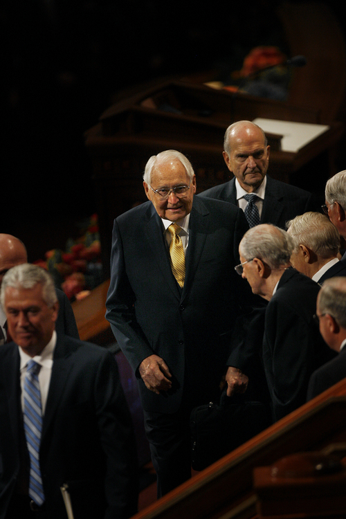 Scott Sommerdorf   |  The Salt Lake Tribune Elder L. Tom Perry leaves the morning session of the 183rd LDS General Conference, Saturday, October 5, 2013.