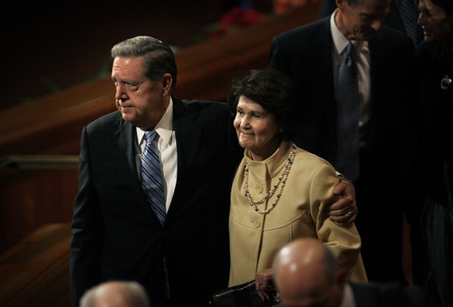 Scott Sommerdorf   |  The Salt Lake Tribune Elder Jeffrey R. Holland and his wife Patricia leave the morning session of the 183rd LDS General Conference, Saturday, October 5, 2013.