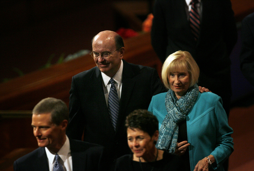 Scott Sommerdorf   |  The Salt Lake Tribune Elder Quentin L. Cook and his wife Mary leave the morning session of the 183rd LDS General Conference, Saturday, October 5, 2013.