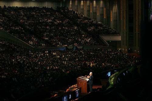 Scott Sommerdorf   |  The Salt Lake Tribune President Dieter F. Uchtdorf speaks during the 183rd LDS General Conference, Saturday, October 5, 2013.