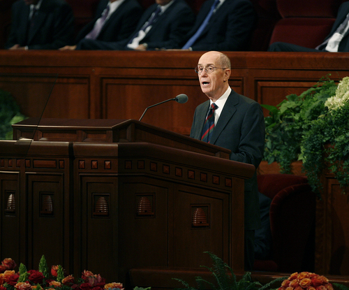 Scott Sommerdorf   |  The Salt Lake Tribune President Henry B. Eyring opens the morning session of the 183rd LDS General Conference, Saturday, October 5, 2013.