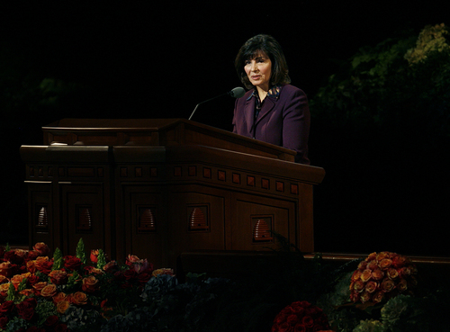 Scott Sommerdorf   |  The Salt Lake Tribune Sister Carole M. Stephens of the Relief Society General Presidency speaks about the various aspects of the holding of the priesthood during the 183rd LDS General Conference, Saturday, October 5, 2013.