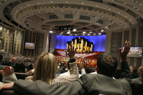 Scott Sommerdorf   |  The Salt Lake Tribune Members of the church provide sustaining votes for the retention of President Thomas S. Monson and the other members of the Quorum of the Twelve during the afternoon session of the 183rd LDS General Conference, Saturday, October 5, 2013.