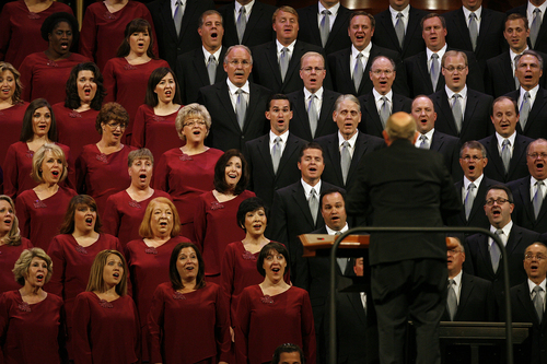 Scott Sommerdorf   |  The Salt Lake Tribune The Mormon Tabernacle Choir sings during the morning session of the 183rd LDS General Conference, Sunday, October 6, 2013.