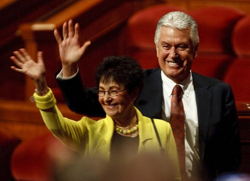 Leah Hogsten | The Salt Lake Tribune Second Counselor, Dieter F. Uchtdorf and his wife Harriet leave the afternoon session of the LDS Church's 183rd Semiannual General Conference, Sunday, October 6, 2013.