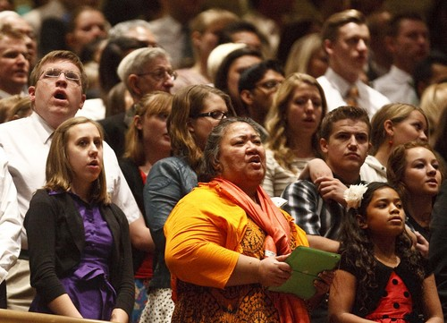 Leah Hogsten | The Salt Lake Tribune Members sing during the LDS Church's 183rd Semiannual General Conference, Sunday, October 6, 2013.