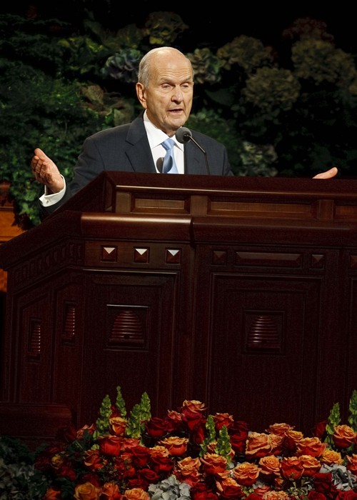 Leah Hogsten | The Salt Lake Tribune Elder Russell M. Nelson speaks during the afternoon session of the LDS Church's 183rd Semiannual General Conference, Sunday, October 6, 2013.