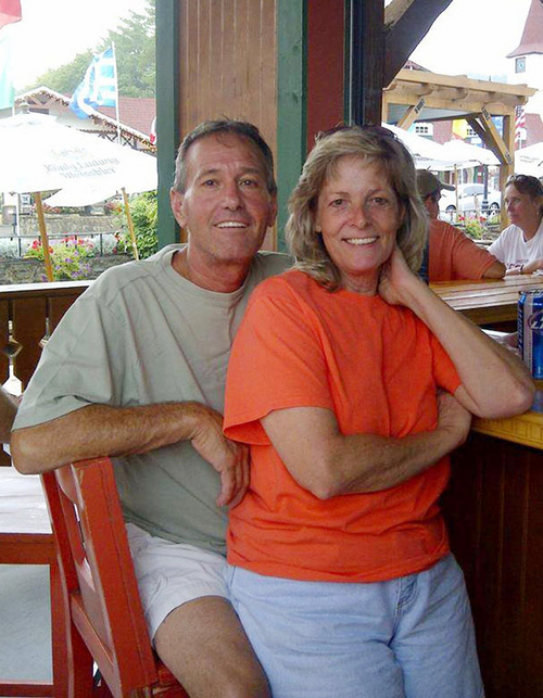 """This undated photo provided by Patty Konietzky, shows her with husband Henry """"Butch"""" Konietsky after tubing in Helen, Ga. Butch died 60 hours after contracting the bacteria vibrio vulnificus. The couple went crabbing in the Halifax River near Ormond Beach in September 2013.  Butch developed a sore which was later confirmed to be vibrio vulnificus. The bacteria can be contracted by eating raw seafood, especially oysters, or having an open wound come in contact with contaminated seawater. So far, 31 people this year in Florida have contracted the disease, and 10 have died. (AP Photo/Patty Konietsky)"""