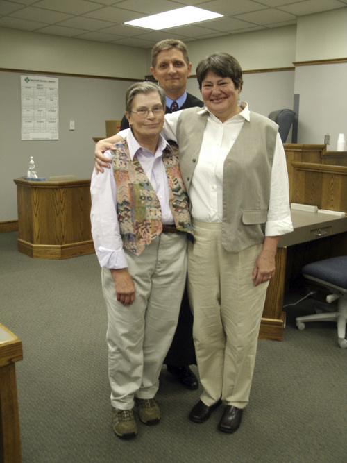 American Fork residents Karen Archer (left) and Kate Call were  married in Council Bluffs, Iowa on July 11 by District Associate Judge  Craig R. Dreismeier. Photo courtesy of Kate Call.
