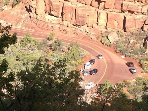 Cars using a newly reopened pullout at Zion National Park on Oct. 11, 2013. (Jim Dalrymple)