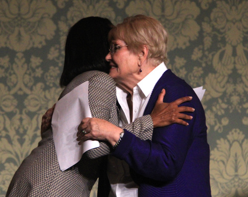 Rick Egan  | The Salt Lake Tribune   Elaine Hatch hugs former Secretary of State Condoleezza Rice, before she gave the keynote address at Sen. Orrin Hatch's annual Women's Conference at the LIttle America, Friday, October 11, 2013.