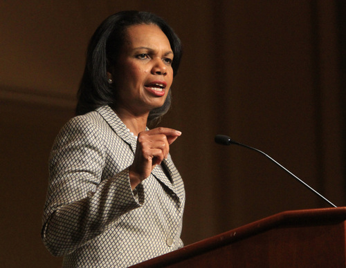 Rick Egan  | The Salt Lake Tribune   Former Secretary of State, Condoleezza Rice, gives the keynote address at Sen. Orrin Hatch's annual Women's Conference at the LIttle America, Friday, October 11, 2013.
