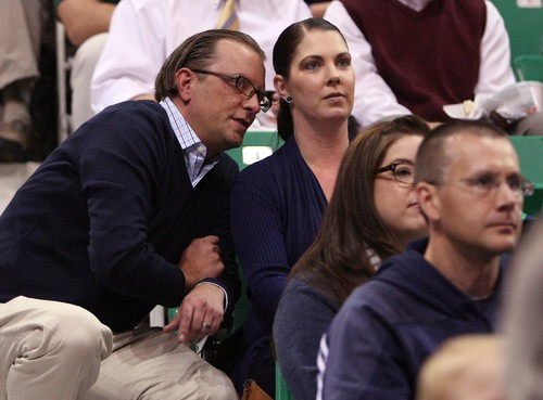 Leah Hogsten | The Salt Lake Tribune Utah Jazz assistant general manager Justin Zanik and his wife Gina watch the team at EnergySolutions Arena during the annual scrimmage Saturday, October 5, 2013. The Zanik's daugher Ava, 6, had four brain surgeries this summer to drain a burst cyst on her brain.