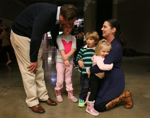 Leah Hogsten   The Salt Lake Tribune Utah Jazz assistant general manager Justin Zanik tends to his daughter Ava, 6, as his wife Gina sees to son, Oskar, 4, and Lucy, 2, after the team's annual scrimmage Saturday, October 5, 2013. Ava Zanik had four brain surgeries this summer to drain a burst cyst on her brain.