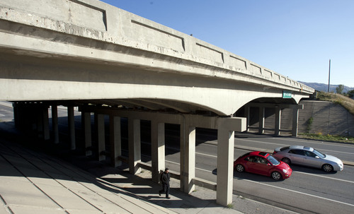 Steve Griffin  |  The Salt Lake Tribune  A third of Utah bridges soon will be older than 50 years old. Here cars pass under the I-15 bridge at 500 South in Bountiful Friday, October 11, 2013, which is one that will be replaced next year.