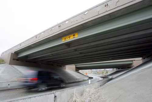 Francisco Kjolseth  |  Tribune file photo Traffic moves under the I-80 corridor at 2300 East in Salt Lake on Wednesday, March 30, 2011. Utah's highway bridges now rank among the safest in the nation, but still have room for improvement, says a new national report. The new safety status is in large part due to the recent highway improvements along the I-15, I-80 and the I-215 corridors.