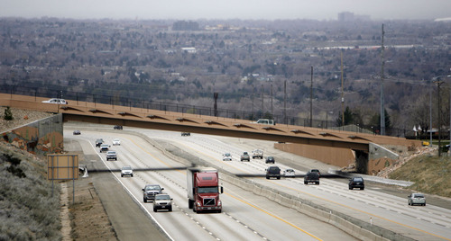 Francisco Kjolseth  |  Tribune file photo Traffic moves along I-215 under the 4500 South bridge in Salt Lake on Wednesday, March 30, 2011. Utah's highway bridges now rank among the safest in the nation, but still have room for improvement, says a new national report. The new safety status is in large part due to the recent highway improvements along the I-15, I-80 and the I-215 corridors.