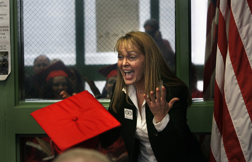 "Scott Sommerdorf   |  The Salt Lake Tribune  GOGI founder Mara Leigh Taylor speaks to female inmates at the GOGI graduation ceremony at the Wasatch County Jail. ""These simple little tools, even if you take only one with you, can save your life,"" she told the women.  Thursday, August 22, 2013."