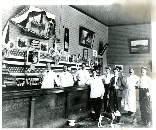 Photo Courtesy of Utah Historical Society  Interior shot of the bar at Lagoon Resort. Undated.
