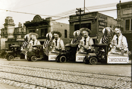 Photo Courtesy Utah Historical Society  Wagener Brewing Company with decorated trucks in 1913.