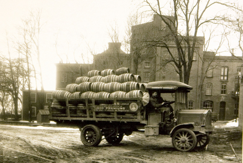 Photo Courtesy Utah Historical Society  Wagener Truck with barrels outside the brewery in 1914.
