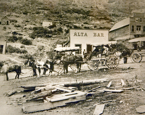 Photo Courtesy Utah Historical Society  Stage bound for Salt Lake outside the Alta Bar in Alta, Utah, 1904.