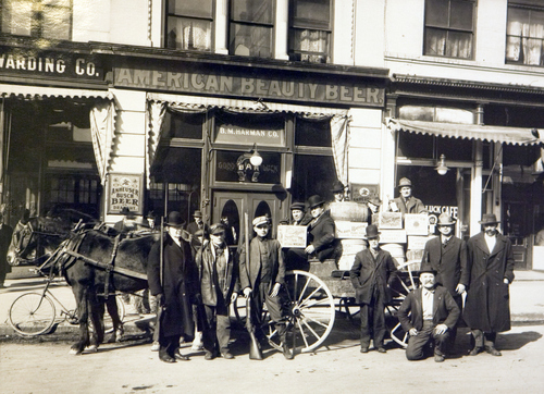 Photo Courtesy Utah Historical Society  Horseshoe Liquor Company wagon in front of the Good Luck Bar in Salt Lake, 1917.