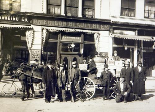 Photo Courtesy Utah Historical Society  Horseshoe Liquor Company wagon in front of the Good Luck Bar in Salt Lake, 1917.