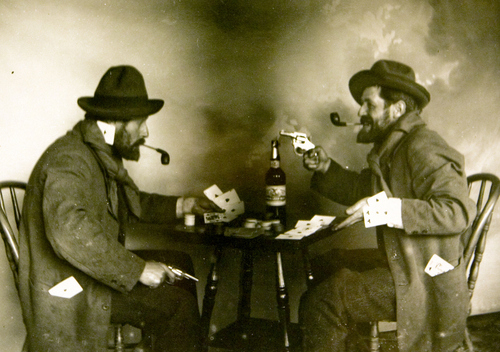 Photo Courtesy Utah Historical Society  A staged gambling hall and saloon scene in the late 1800's.