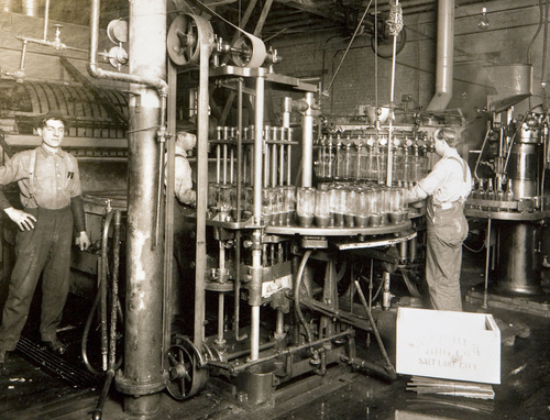Photo Courtesy Utah Historical Society  Bottling machine at Fisher Brewery in 1914.