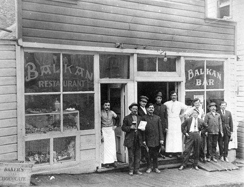 Photo Courtesy Utah Historical Society  The Balkan Bar and Restaurant in Bingham, Utah around 1900.