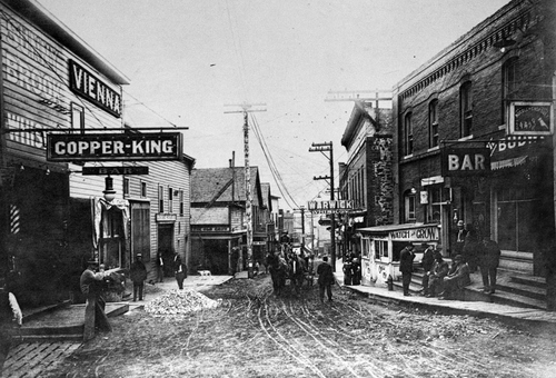 Photo Courtesy Utah Historical Society  Main Street lined with bars in Bingham, Utah around 1900.