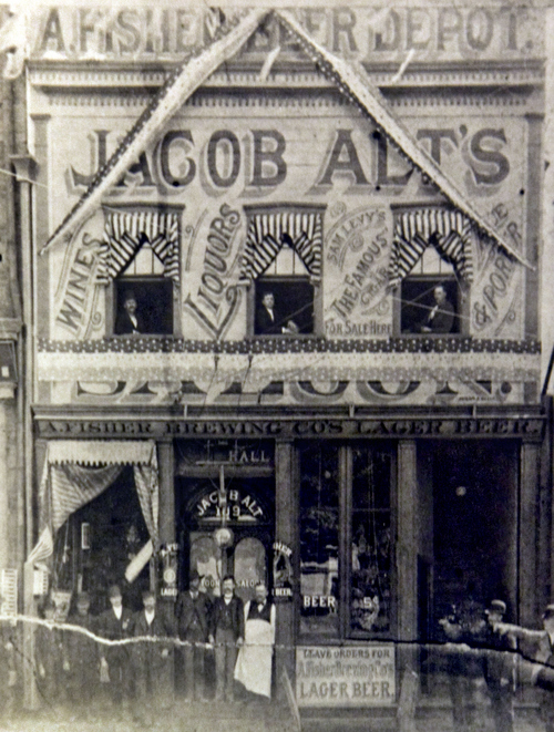 Photo Courtesy Utah Historical Society  Jacob Alt's Saloon on 109 S. Main Street in Salt Lake City, 1898.